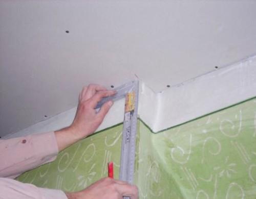 Разметка прямого потолка из гипсокартона.