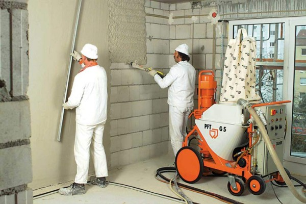 Штукатурка стен машинным способом