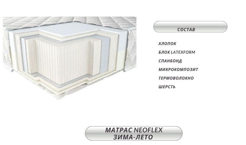 Матрац беспружинный Neofex зима-лето